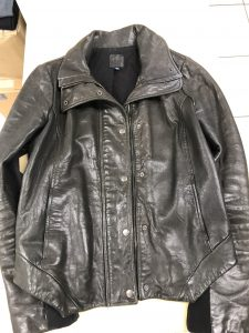 Ladies Black Leather Jackets Showing Signs Of Wear