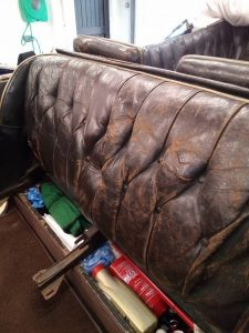 Classic Car Interior With Damaged Seats