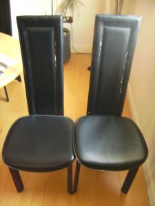 Two Faux Leather Chairs