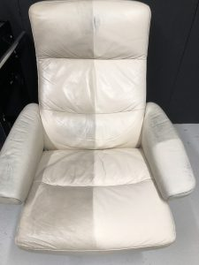 Ekornes Chair Half Cleaned
